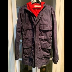 Marni x H&M navy hooded coat. Size 42R